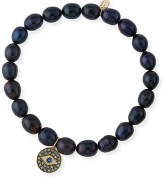 Sydney Evan 6mm Black Potato Pearl Beaded Bracelet with Diamond & Sapphire Evil Eye Charm