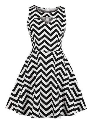 a29e9286e15 Killreal Women s Sleeveless Retro Style Sexy Round Neck Cotton Fit Flared  Stripes Pattern Swing Party Tea