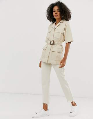 Asos Design DESIGN denim belted utility shacket