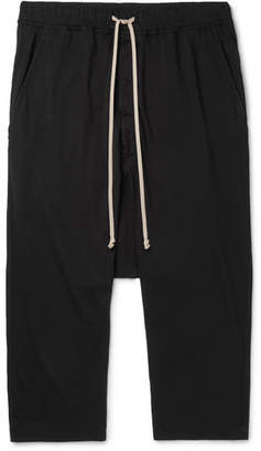 Rick Owens Black Cropped Cotton-Jersey Drawstring Trousers