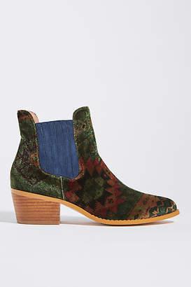 Anthropologie Printed Velvet Chelsea Boots