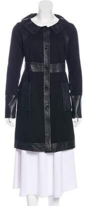 Diane von Furstenberg Leather-Trimmed Knee-Length Coat w/ Tags