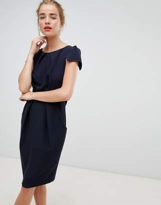 Closet London tie back short sleeve dress in navy