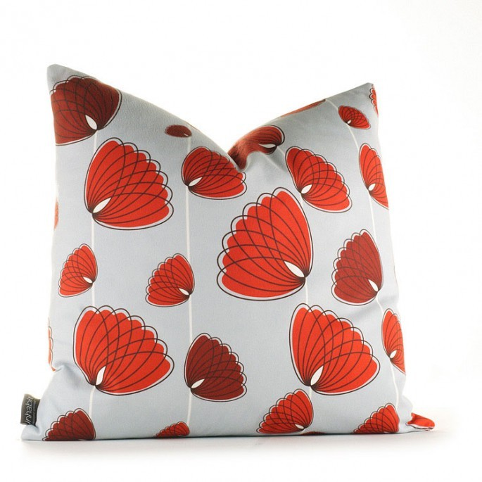 Floating Lotus in Silver and Scarlet Pillow