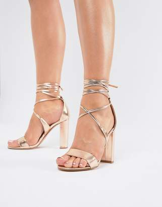 True Decadence Rose Gold Ankle Tie Block Heeled Sandals