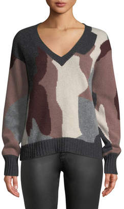 360 Sweater 360Sweater Cayenne V-Neck Camo Skull Cashmere Sweater