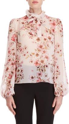 Giambattista Valli Pink Floral Ruffled Silk Blouse