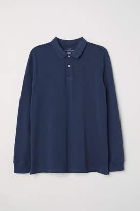 H&M Long-sleeved Polo Shirt - Blue