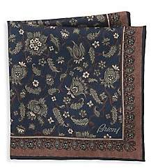 Brioni Men's Floral Print Pocket Square
