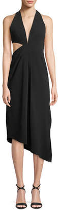 Halston Asymmetric Draped Halter Dress