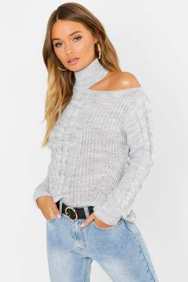 d50c62fb83099 Free Returns at boohoo · boohoo Cable Knit Cut Out Shoulder Sweater