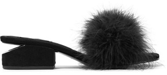 Alexander Wang - Lou Feather-embellished Suede Mules - Black $495 thestylecure.com