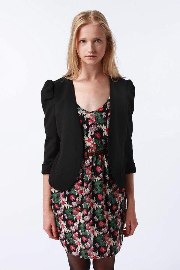 Pins and Needles Puff-Sleeve Open Blazer