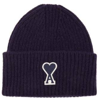 Ami Logo Patch Ribbed Wool Beanie Hat - Mens - Navy