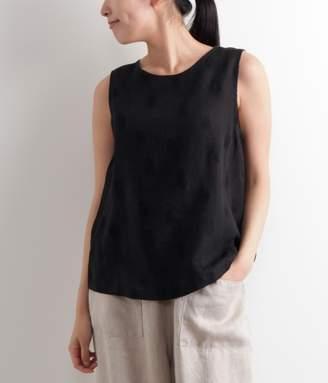 【送料無料】リネン刺繍ノースリーブブラウス(ブラック)