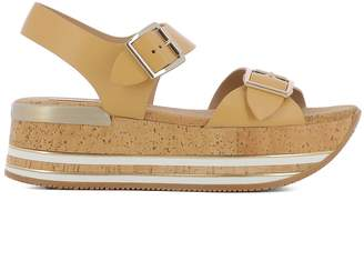 Hogan Brown Leather Sandals