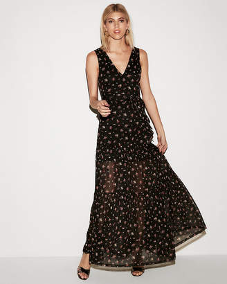 Express Floral Tiered Tie Front Maxi Dress