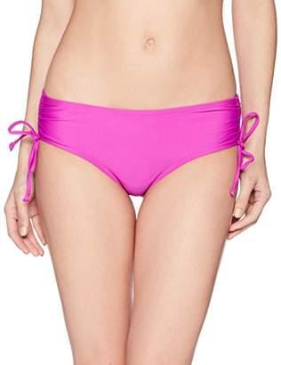 Coastal Blue Women's Standard Active Swimwear Drawstring Side Brief Bikini Bottom