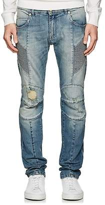 Pierre Balmain MEN'S DISTRESSED SKINNY BIKER JEANS - LT. BLUE SIZE 34