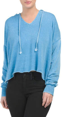 Juniors Burnout Boxy Crop Hoodie