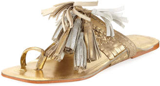 Figue Scaramouche Metallic Tassel-Trim Toe-Ring Sandal