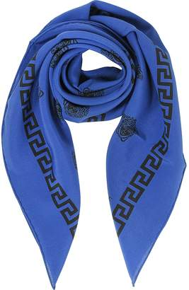 Versace Bluette and Black Greek Medusa Print Silk Square Scarf
