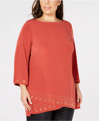 JM Collection Plus Size Hardware-Embellished Tunic Top