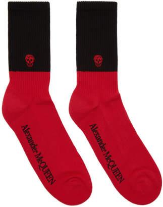 Alexander McQueen Red and Black Skull Socks