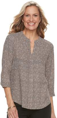Dana Buchman Women's Printed Splitneck Top