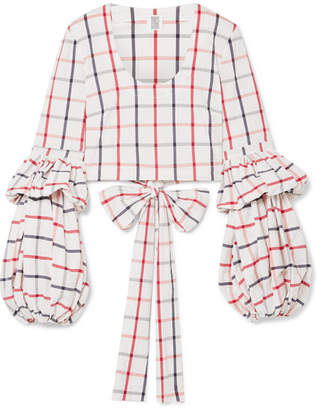 Rosie Assoulin The Pfff Pleated Cropped Checked Cotton-blend Wrap Top - White