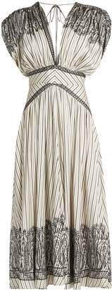 Etro Tie-back striped silk-twill dress