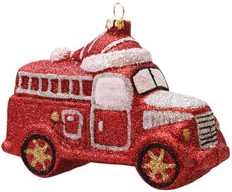 Asstd National Brand 4.75 Merry & Bright Red Silver and White GlitterShatterproof Fire Truck Christmas Ornament