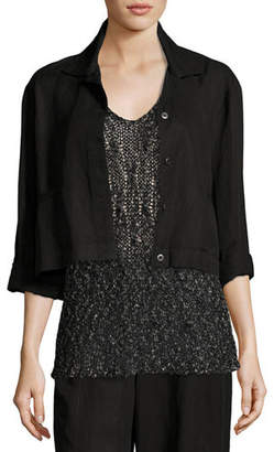 Eileen Fisher Lightweight Cropped Button-Front Jacket $238 thestylecure.com
