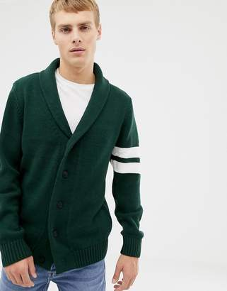 New Look cardigan with collegiate detail in khaki
