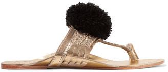 Figue - Leo Pompom-embellished Metallic Leather Sandals - Gold $195 thestylecure.com