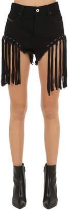 Diesel Fringed Cotton Denim Shorts