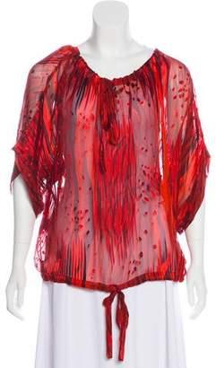 Rachel Zoe Devoré Silk-Blend Printed Top