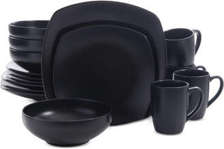 Gibson Signature Living 16-Pc. Majorca Matte Glaze Black Square Dinnerware Set
