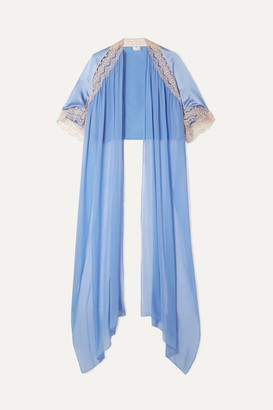 Miguelina Mj Lace-trimmed Silk-charmeuse And Chiffon Cape - Light blue