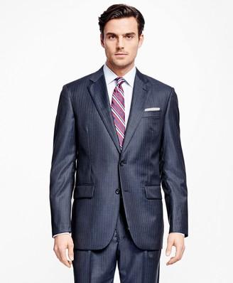 Brooks Brothers Madison Fit Saxxon Wool Alternating Stripe 1818 Suit