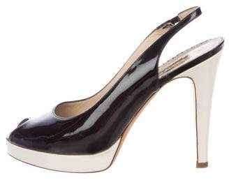 Oscar de la Renta Patent Leather Slingback Pumps
