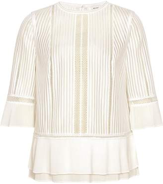 Reiss Erika - Lace Peplum Top in Ivory