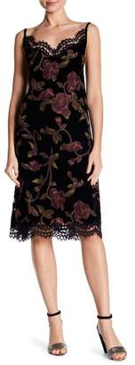Max Studio Spaghetti Strap Lace Trim Floral Dress
