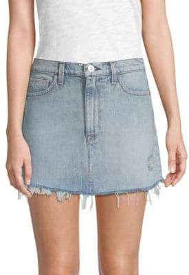 Hudson Vivid Distressed Denim Mini Skirt