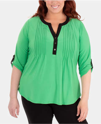 NY Collection Plus Size Split-Neck Pintuck Top
