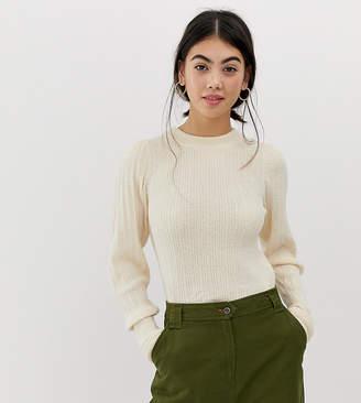Asos DESIGN Petite rib knit sweater in natural look yarn