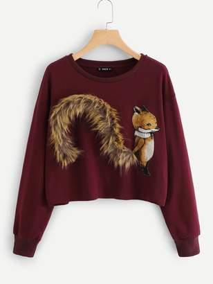 Shein Plus Fox Patch Sweatshirt