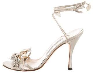 Manolo Blahnik Floral Leather Sandals