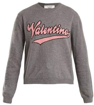 Valentino Logo Intarsia Wool And Cashmere Blend Sweater - Womens - Grey Multi