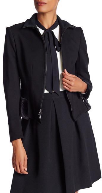 Anne KleinAnne Klein Faux Fur Trim Peplum Jacket